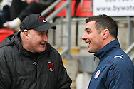 Picture by David Horn/Focus Images Ltd +44 7545 970036.23/02/2013.Russell Slade Manager of Leyton Orient and Richie Barker Manager of Crawley Town before the npower League 1 match at the Matchroom Stadium, London.