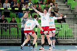 Team Larvik celebrate after handball match between RK Krim Mercator (SLO) and Larvik HC (NOR) in second game of semi final of EHF Women's Champions League 2012/13 on April 13, 2013 in Arena Stozice, Ljubljana, Slovenia. (Photo By Urban Urbanc / Sportida)