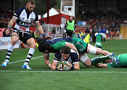 Bristol Rugby's Luke Eves scores a try - Photo mandatory by-line: Dougie Allward/JMP - Mobile: 07966 386802 - 12/10/2014 - SPORT - Rugby - Bristol - Ashton Gate - Bristol Rugby v Connacht Eagles - B&I Cup