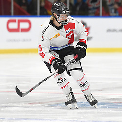 WHITBY, - Dec 13, 2015 -  WJAC Game 2- Team Switzerland vs Team Canada East at the 2015 World Junior A Challenge at the Iroquois Park Recreation Complex, ON. Victor Ojdemark #3 of Team Switzerland skates up the ice during the first period.<br /> (Photo: Andy Corneau / OJHL Images)