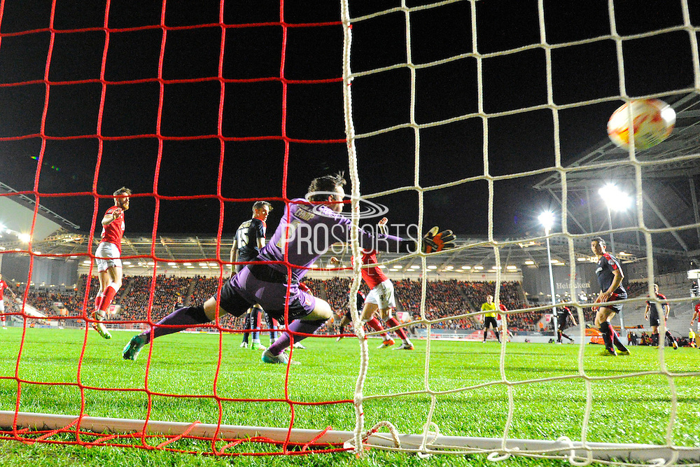 Goal - Rotherham United goalkeeper Lee Camp is beaten by a Bristol City forward Peter Odemwingie shot which levelled the scores during the Sky Bet Championship match between Bristol City and Rotherham United at Ashton Gate, Bristol, England on 5 April 2016. Photo by Graham Hunt.