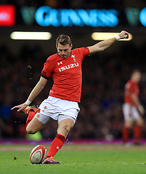 Wales' Dan Biggar takes a penalty kick