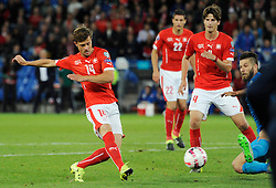 05.09.2015, St. Jakob Park, Basel, SUI, UEFA Euro 2016 Qualifikation, Schweiz vs Slowenien, Gruppe E, im Bild Valentin Stocker (SUI) scores 2:2 // during the UEFA EURO 2016 qualifier group E match between Switzerland and Slovenia at the St. Jakob Park in Basel, Switzerland on 2015/09/05. EXPA Pictures © 2015, PhotoCredit: EXPA/ Freshfocus/ Steffen Schmidt<br /> <br /> *****ATTENTION - for AUT, SLO, CRO, SRB, BIH, MAZ only*****