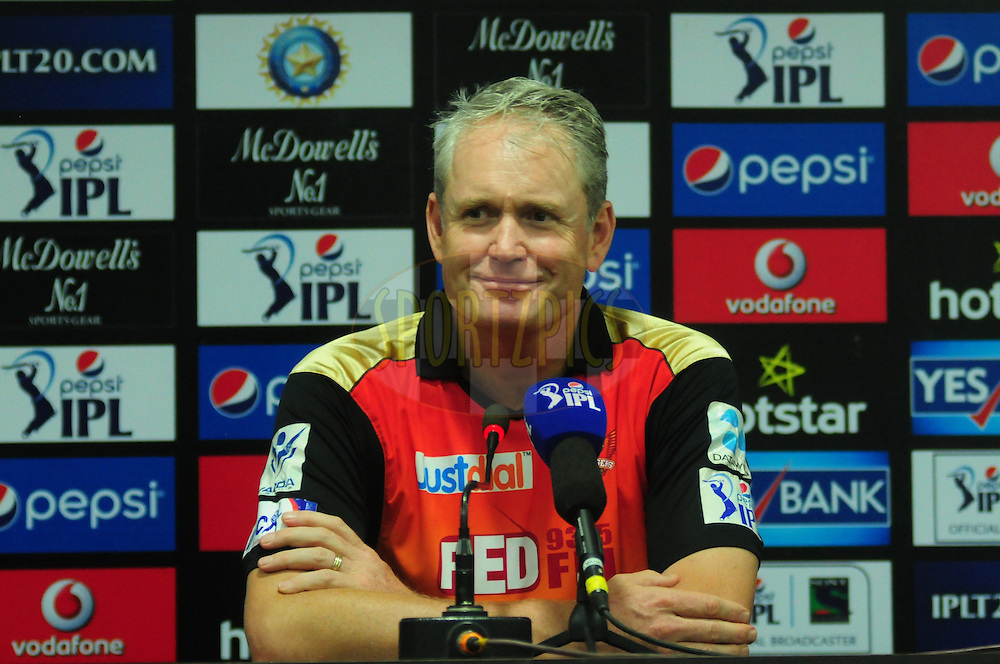 Sunrisers Hyderabad couch Tom Moody during the press conference after the match 45 of the Pepsi IPL 2015 (Indian Premier League) between The Delhi Daredevils and the Sunrisers Hyderabad held at the Shaheed Veer Narayan Singh International Cricket Stadium in Raipur, India on the 9th May 2015.<br /> <br /> Photo by:  Arjun Panwar / SPORTZPICS / IPL