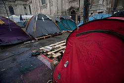© licensed to London News Pictures. London, UK 18/01/12. Occupy London protesters wait the court decision of the camp's eviction request made by City of London Corporation in St Paul's. Photo credit: Tolga Akmen/LNP