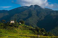 THIMPU, BHUTAN - CIRCA October 2014: House in the countryside in Bhutan