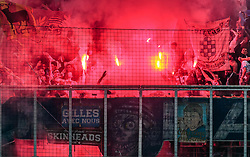 03.05.2018, Red Bull Arena, Salzburg, AUT, UEFA EL, FC Salzburg vs Olympique Marseille, Halbfinale, Rueckspiel, im Bild Marseille Fans mit bengalischen Fackeln im Sektor // during the UEFA Europa League Semifinal, 2nd Leg Match between FC Salzburg and Olympique Marseille at the Red Bull Arena in Salzburg, Austria on 2018/05/03. EXPA Pictures © 2018, PhotoCredit: EXPA/ JFK