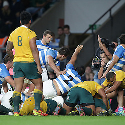 Referee Mathieu Raynal signals the 1st Argentina Try scored by Matias Alemanno during the The Rugby Championship match between Argentina and Australia at Twickenham Stadium, Twickenham - 08/10/2016<br /> ©Matthew Impey / Wired Photos<br /> Picture by Matt Impey +44 7789 130347
