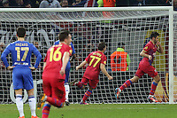 Raul Rusescu (R) of Steaua Bucharest celebrates his goal during the first leg of the UEFA Europa League round of 16 football match between Steaua Bucharest and Chelsea at the National Arena Stadium in Bucharest on March 7, 2013.