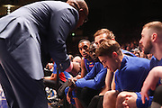 14/10/2016 Terrance Ferguson listens to 36ers coach Joey Wright on the bench as he makes his debut in front of the Adelaide 36ers home crowd as the Adelaide 36ers vs Melbourne United at the Titanium Security Arena.