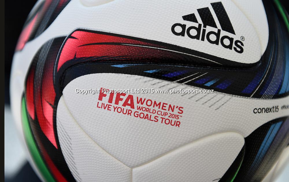 Match Ball. FIFA Women's World Cup 2015. Live Your Goals Tour. Auckland. New Zealand. Wednesday 11 February 2015. Copyright Photo: Andrew Cornaga / www.photosport.co.nz