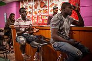 Football fans from Senegal watch their national team's Russia 2018 World Cup Group H match against Colombia. Irun (Basque Country). June 24, 2018. (Gari Garaialde / BostokPhoto)