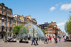 View of south entrance to underground station at St Enoch Square in Glasgow, Scotland, United Kingdom