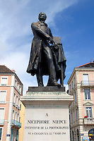 Statue of Joseph Nicephore Niepce, inventor of photogaphy. Chalon-sur-Saone, Burgundy France.