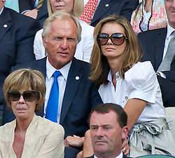 LONDON, ENGLAND - Wednesday, June 29, 2011: Golfer Greg Norman with his wife Kirsten Kutner, during the Gentlemen's Singles Quarter-Final match on day nine of the Wimbledon Lawn Tennis Championships at the All England Lawn Tennis and Croquet Club. (Pic by David Rawcliffe/Propaganda)
