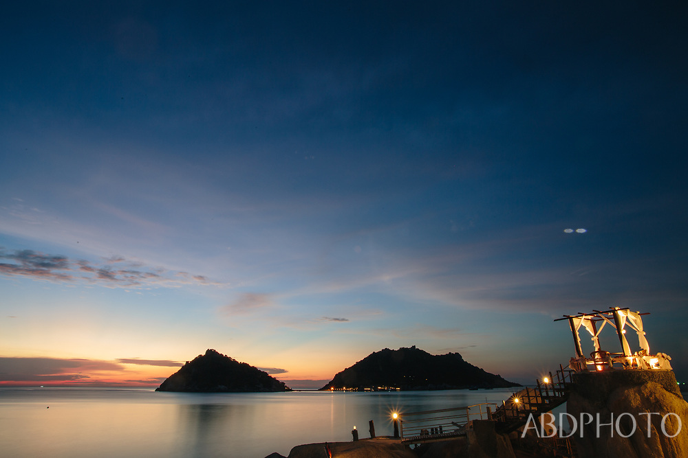 view over Nang Yuan islands from Koh Tao island Thailand