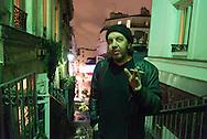 France. Paris 18th; people on Montmartre stairs, Rue drevet at night; Au petit theatre du Bonheur.