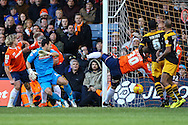 The ball is cleared off the line by Michael Harriman of Luton Town (22 - far right) during the Sky Bet League 2 match at Kenilworth Road, Luton<br /> Picture by David Horn/Focus Images Ltd +44 7545 970036<br /> 20/12/2014