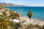 Playa Calahonda sandy beach at popular holiday resort town of Nerja, Malaga province, Spain