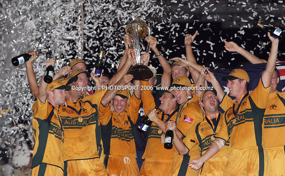 The Australian team celebrate at the conclusion of the 2007 ICC Cricket World Cup Final between Australia and Sri Lanka at Kensington Oval, Barbados, West Indies on Saturday 28 April 2007. Australia won the toss and elected to bat first and won the match by 53 runs. Photo: Andrew Cornaga/PHOTOSPORT<br />