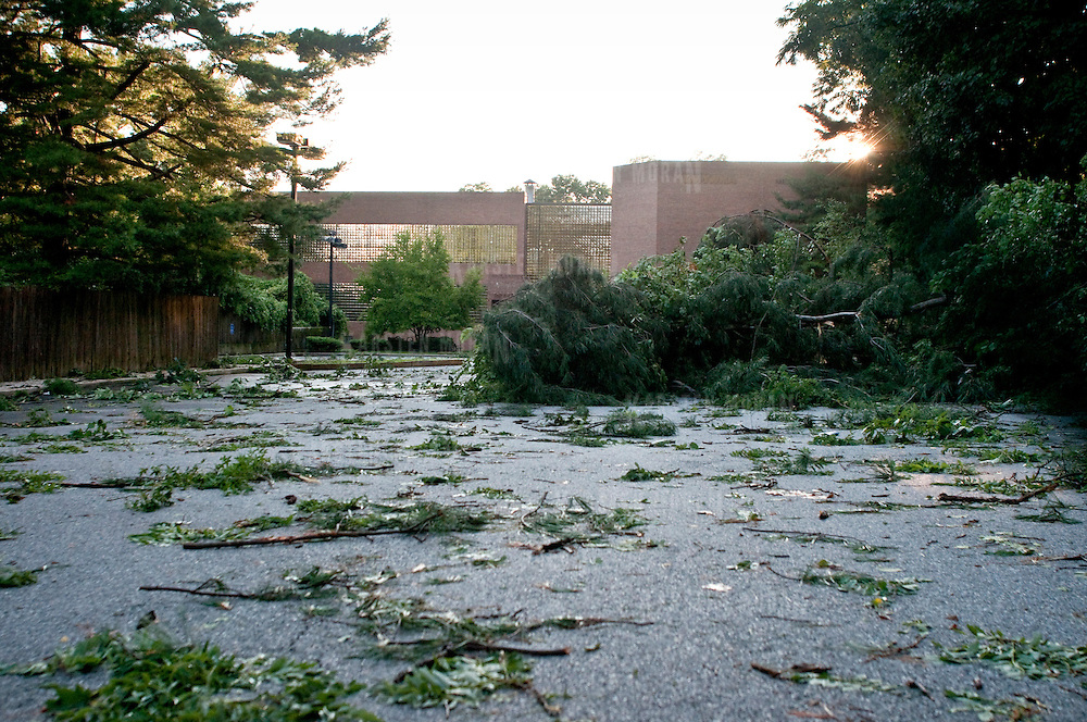 July 25, 2010 - Bronx, NY : Fallen tree limbs and leaves litter the parking lot of the Riverdale YM-YWHA. Photo by Karsten Moran / The Riverdale Press