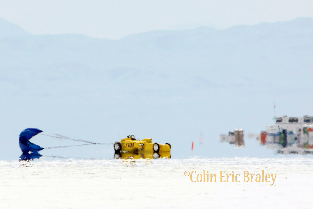 2009 Bonneville Speed Week- Heat waves off the salt surface create a mirage effect as Bonneville Bob Racing's 1927 Ford Roadster, driven by Robert Jackson Jr. of Queen Creek, AZ. pulls off the long course at the Bonneville Speed Way. August 9, 2009.  Photo by Colin E. Braley