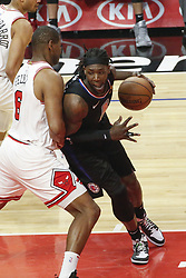 March 15, 2019 - Los Angeles, California, U.S - Los Angeles ClippersÃ• Montrezl Harrell (5) drives against Chicago Bulls' Cristiano Felicio (6) during an NBA basketball game between Los Angeles Clippers and Chicago Bulls Friday, March 15, 2019, in Los Angeles. The Clippers won 128-121. (Credit Image: © Ringo Chiu/ZUMA Wire)