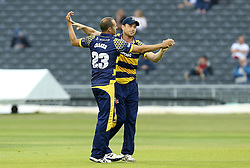 Dean Cosker of Glamorgan celebrates with Graham Wagg of Glamorgan - Mandatory by-line: Robbie Stephenson/JMP - 10/06/2016 - CRICKET - Brightside Ground - Bristol, United Kingdom - Gloucestershire v Glamorgan - NatWest T20 Blast