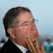 APRIL 25, 2018--MIAMI, FLORIDA<br /> Alberto Ibarguen, CEO and President of the Knight Foundation, listens a presentation by some of the recipients of $1.87 million from the foundation to support the exploration of new ways technology can connect people to art. The event was held at the Perez Art Museum Miami.<br /> (PHOTO BY ANGELVALENTIN/FREELANCE)