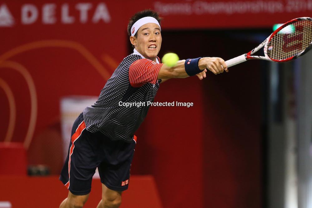 Kei Nishikori (JPN), <br /> OCTOBER 5, 2014 - Tennis : Rakuten Japan Open Tennis Championships 2014, <br /> the Final match between Kei Nishikori (JPN) - Milos Raonic (CAN) at Ariake Coliseum, Tokyo, Japan. <br /> (Photo by Yohei Osada/AFLO SPORT) [1156]