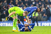 Chelsea forward Michy Batshuayi (23) at full time with Chelsea forward Tammy Abraham (9) on the ground during the Premier League match between Chelsea and Arsenal at Stamford Bridge, London, England on 21 January 2020.