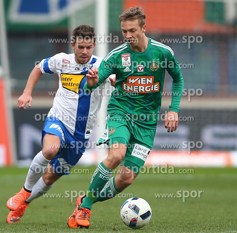 28.02.2016, Ernst Happel Stadion, Wien, AUT, 1. FBL, SK Rapid Wien vs SV Groedig, 24. Runde, im Bild Lukas Denner (SV Groedig) und Philipp Schobesberger (SK Rapid Wien) // during a Austrian Football Bundesliga Match, 24th Round, between SK Rapid Vienna and SV Groedig at the Ernst Happel Stadion, Vienna, Austria on 2016/02/28. EXPA Pictures © 2016, PhotoCredit: EXPA/ Thomas Haumer