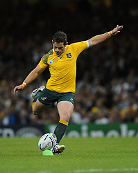Australia Fly-Half Bernard Foley kicks a penalty  - Mandatory byline: Joe Meredith/JMP - 07966386802 - 23/09/2015 - Rugby Union, World Cup - Millenium Stadium -Cardiff,Wales - Australia v Fiji - Rugby World Cup 2015 - Pool A