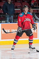 KELOWNA, CANADA - MARCH 15: Dalton Yorke #5 of the Kelowna Rockets warms up against the Vancouver Giants on March 15, 2014 at Prospera Place in Kelowna, British Columbia, Canada.   (Photo by Marissa Baecker/Getty Images)  *** Local Caption *** Dalton Yorke;