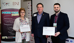 BNI Apollo (Lincoln) - Notable networker.  Pictured is, from left, Rachel Martel (Opportunity Marketing), Mark Jarvis (BNI Nottinghamshire and Lincolnshire area director) and Ashley Allison (Ryland Design Services Ltd).  Rachel was awarded the notable networker certificate for bringing the most number of guests to the chapter in January 2018, while Ashley passed the most referrals (five external and one internal).<br /> <br /> Picture: Chris Vaughan Photography<br /> Date: February 1, 2018