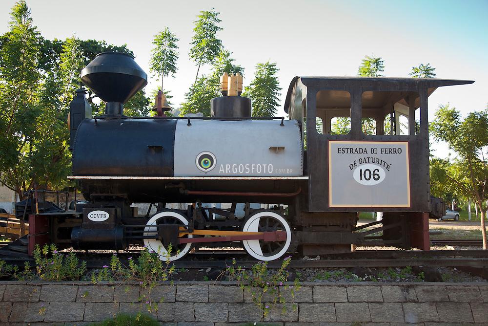 Locomotiva a vapor da Estrada de Ferro de Baturite no Cearaa, exposta na estacao Baturite. /  Steam locomotive in Baturite, Ceara, Brazil. A steam locomotive is a locomotive that produces its power through a steam engine.