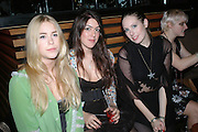 MARY CHARTERIS, AMBER GUINNESS AND ROSIE HOLLAND, A Party To Celebrate the Launch of 'A Hedonist's Guide To Life' Maya. Dean St. London. 23 October 2007. -DO NOT ARCHIVE-© Copyright Photograph by Dafydd Jones. 248 Clapham Rd. London SW9 0PZ. Tel 0207 820 0771. www.dafjones.com.