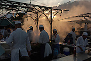 The famous Djemma El Fna comes alive at dusk, Marrakesh
