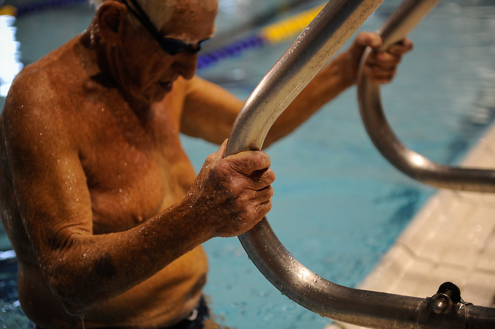 Texas State Senior Games swimming competition Saturday, March 24, 2012 in San Antonio. Photo©Bahram Mark Sobhani