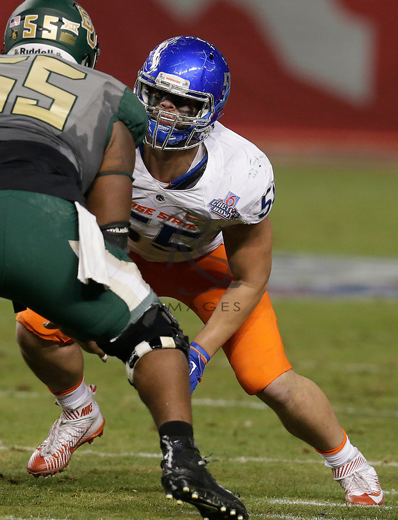 Boise State nose tackle David Moa (55) during the Cactus Bowl NCAA college football game against Baylor, Tuesday, Dec. 27, 2016, in Phoenix. (AP Photo/Rick Scuteri)