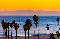 Sunset, Ledbetter Beach (Channel Islands in background), Santa Barbara, California USA.