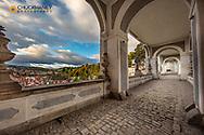Cloak Bridge at castle in Cesky Krumlov, Czech Republic