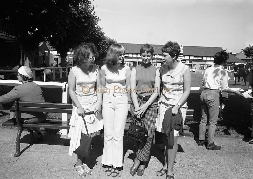 09/08/1967<br /> 08/09/1967<br /> 09 August 1967<br /> R.D.S. Horse Show 2nd day at Balls bridge, Dublin. A general view of the Horse Show grounds. Four Belfast girls at the show.