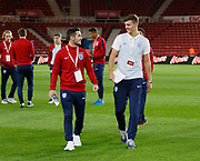 Lewis Cook and Dael Fry of England share a joke during the U21 UEFA EURO first qualifying round match between England and Scotland at the Riverside Stadium, Middlesbrough, England on 6 October 2017. Photo by Paul Thompson.