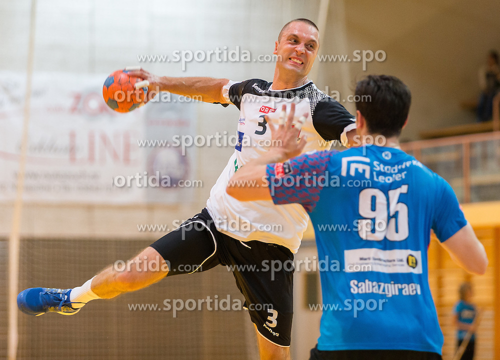 16.09.2016, Sporthalle Leoben Donawitz, Leoben, AUT, HLA, Union JURI Leoben vs SC kelag Ferlach, im Bild Arnaudovisk Risto (Ferlach), Hazbulat Sabazgiraev (Leoben) // during the Handball League Austria match between Union JURI Leoben vs SC kelag Ferlach at the sport Hall, Leoben, Austria on 2016/09/16, EXPA Pictures © 2016, PhotoCredit: EXPA/ Dominik Angerer