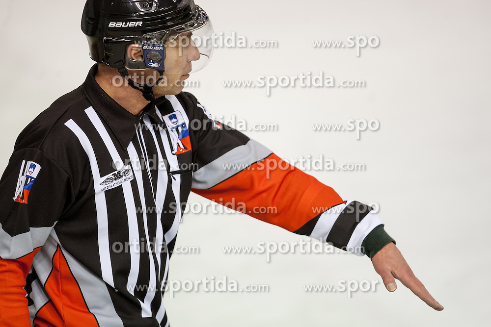 Referee Borut Lesnjak during ice-hockey match between HDD Telemach Olimpija and HK Playboy Slavija in first game of Final at Slovenian National League, on April 7, 2013 at Hala Tivoli, Ljubljana, Slovenia. (Photo By Matic Klansek Velej / Sportida.com)