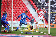 Doncaster Rovers forward John Marquis (22) scores 2-1 during the EFL Sky Bet League 1 match between Doncaster Rovers and Peterborough United at the Keepmoat Stadium, Doncaster, England on 9 February 2019.