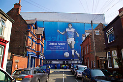 LIVERPOOL, ENGLAND - Sunday, April 9, 2017: An image of Everton striker Graeme Sharpe on the side of Goodison Park, pictured before the FA Premier League match between Everton and Leicester City. (Pic by David Rawcliffe/Propaganda)