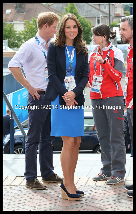 Image licensed to i-Images Picture Agency. 29/07/2014. Glasgow, United Kingdom. The Duke and Duchess of Cambridge and Prince Harry arriving at Hampden Park, Glasgow to watch the Athletics competition  on day six of the Commonwealth Games.  Picture by Stephen Lock / i-Images