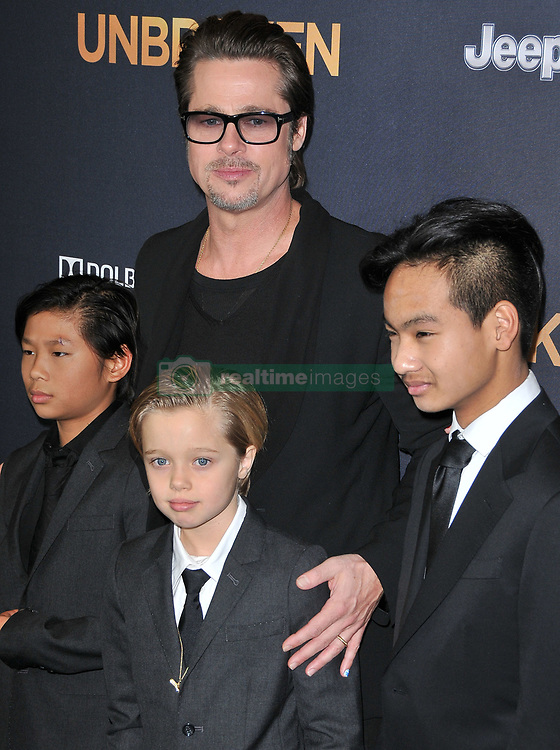 """Pax Thien Jolie-Pitt, Brad Pitt, Shiloh Nouvel Jolie-Pitt & Maddox Jolie-Pitt at the """"Unbroken"""" Los Angeles Premiere held at the Dolby Theatre in Hollywood, CA. The event took place on Monday, December 15, 2014. Photo by: Sthanlee B. Mirador/Shooting Star   *** Please Use Credit from Credit Field ***"""